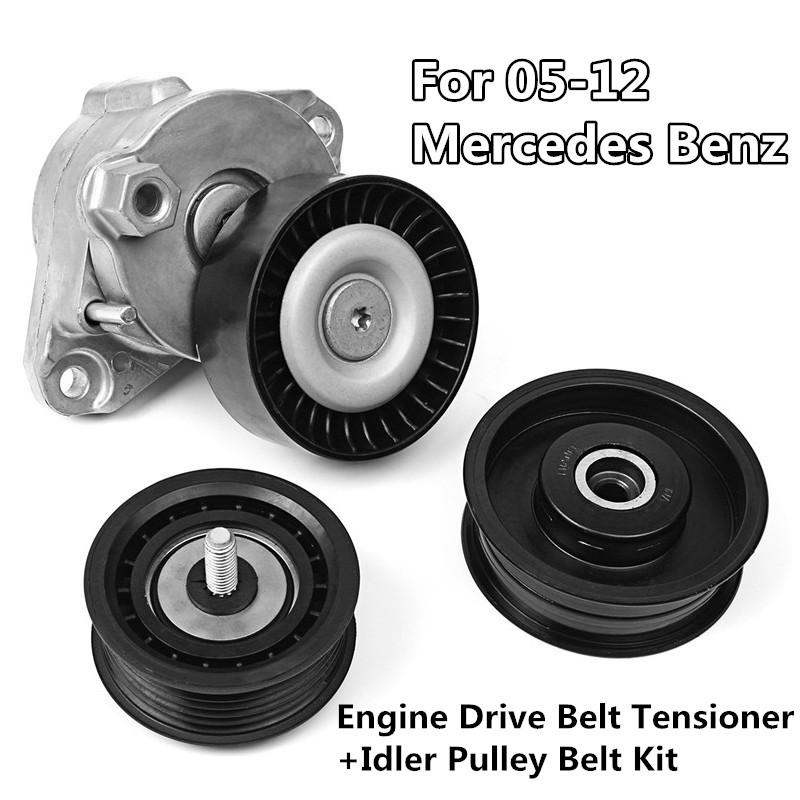 Serpentine Drive Belt Kit with Idler Pulley for Mercedes Benz