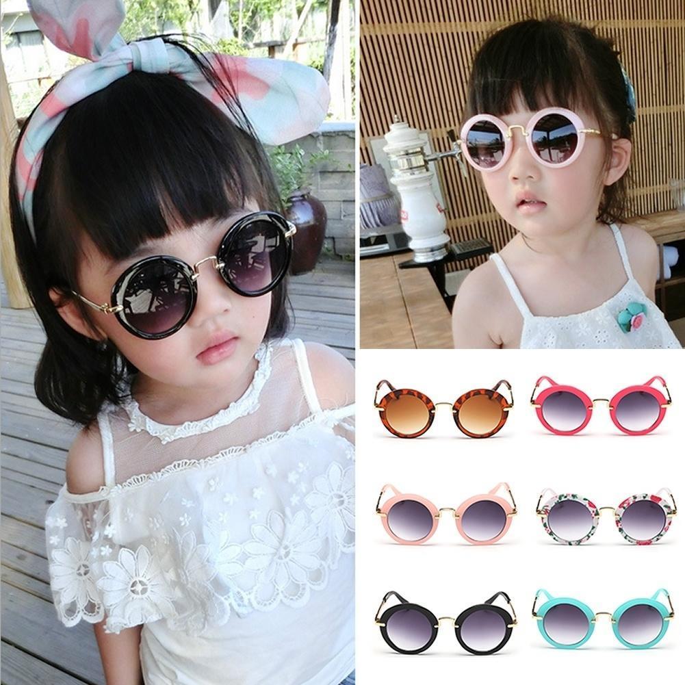 新款圆框儿童太阳镜跨境时尚儿童墨镜金属框儿童眼镜