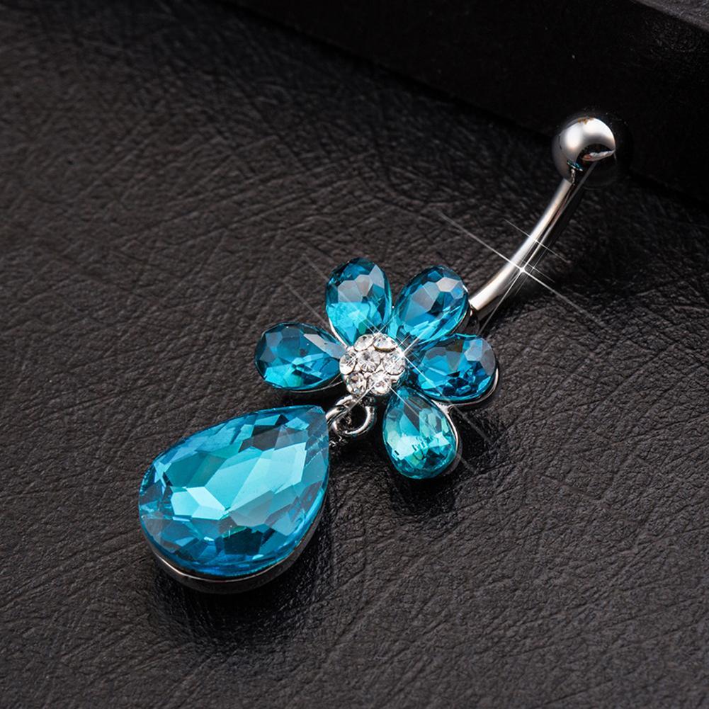 Beauty  Women Crystal Flower Navel Belly Button Ring Bar Body Piercing Hot x1