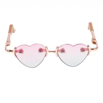 af3f73f582 1 3 BJD Gold Leg No Frame Heart Glasses Eyewear for SD Dollfie Accessory