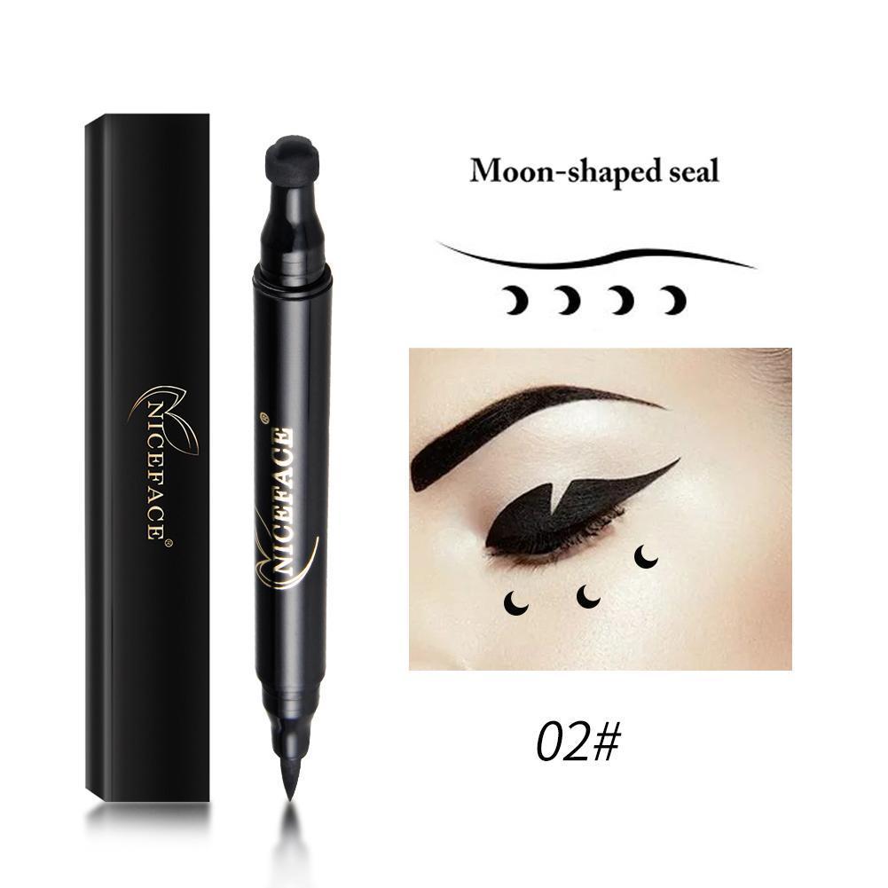 Brand Waterproof Black Eyeliner Pen With Moon Heart Star Stamp Eyes Makeup Liquid Eye Liner Pencil Seal Long-lasting Cosmetics Beauty Essentials Eyeliner