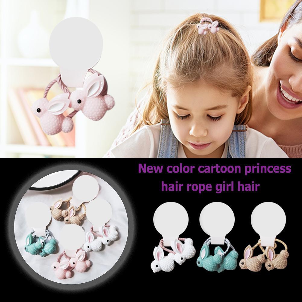 2pc Hair Ties Kid Girl Cute Elastic Rope Ring Butterfly Ponytail Holder Hairband