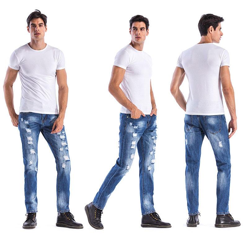 Men/'s Conçu droite Slim Fit Biker Jeans crayon Pantalon Skinny Denim Pantalon