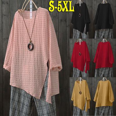 b0ae858b40a95 Plus Size Boho Women Long Sleeve Cotton Linen Kaftan Baggy Blouse Oversized  Loose Slit T Shirt