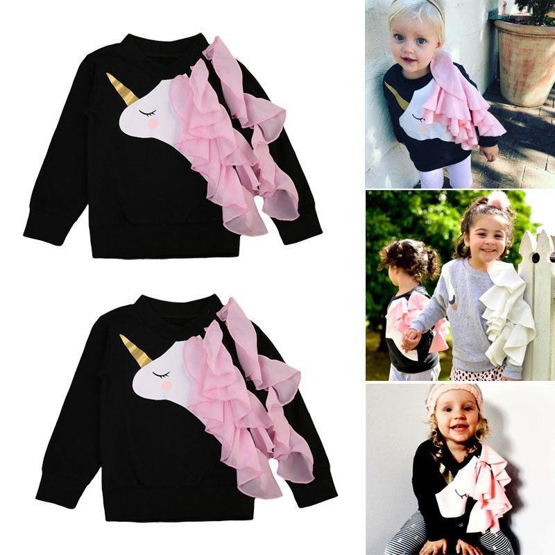 c5678f0db Cute Infant Baby Girls Unicorn Ruffle Tops Sweatshirts Long Sleeve ...