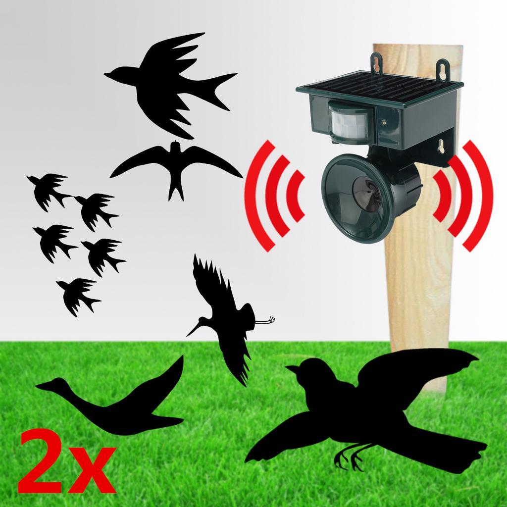 Ultrasonic Birds Mouse Pest Solar //Battery Repeller Scarer Deterrent Repellent