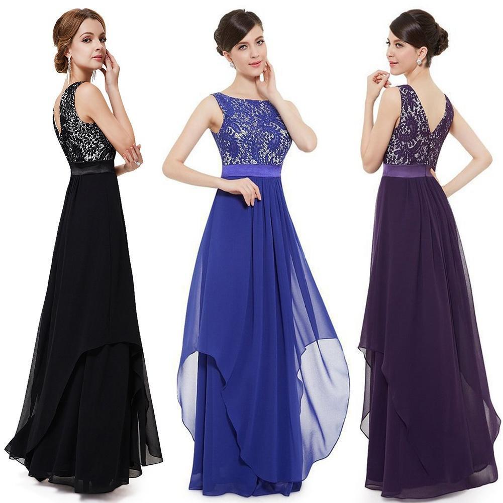 Mode Frauen Brautjungfer Abendkleid formelle Prom Kleid Spitze lange ...