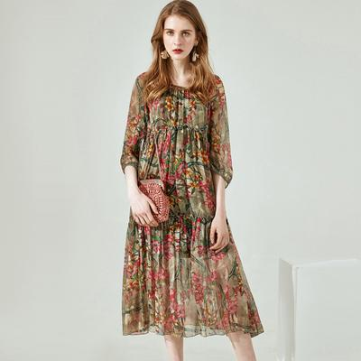 5a4b995b997de WTEMPO Trzyczęściowa jedwabna sukienka z dwuczęściowym przeszyciem nad  spódnicą do kolan