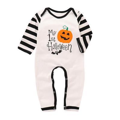 Toddler Baby Boy Girl Short Sleeve Jumpsuit Halloween Pumpkin Infant Short Sleeve Romper Jumpsuit