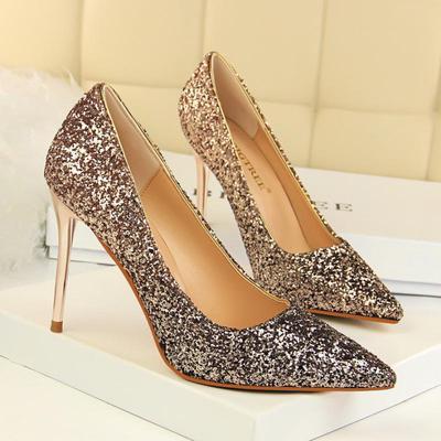 Women Metal Heel Sequined Gradient Heels 8cm Super High Pointed Toe Pumps  Gold Wedding Shoes f65ce9af25da