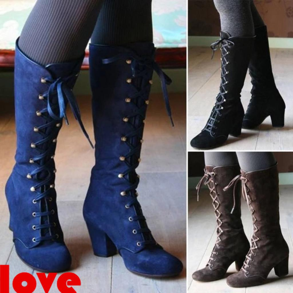 Women Calf Knee High Boots Knight Shoes Buckle Block Heels Slouch Chelsea Boot D