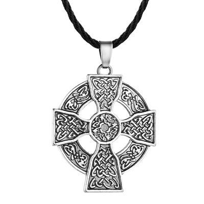Jesus Cross Pendant Men Celtic Necklace Viking Odins Choker Collier Black Rope Chain Statement Jewelry