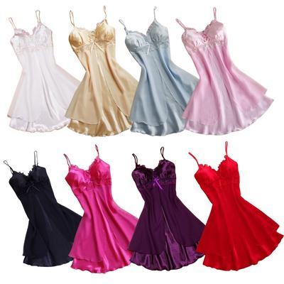 Мода сексуальные женщины белье ночные сорочки кружева пижамы v-образным  вырезом без рукавов слинг шелковые 46782fc393094
