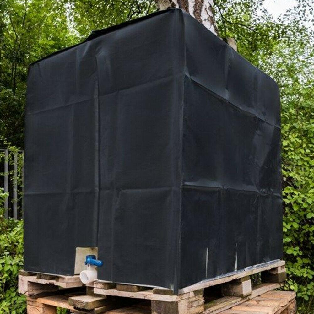 Kristy Foil Cover Sun Protective Hood For Rain Water Tank 1000 L IBC Container Black