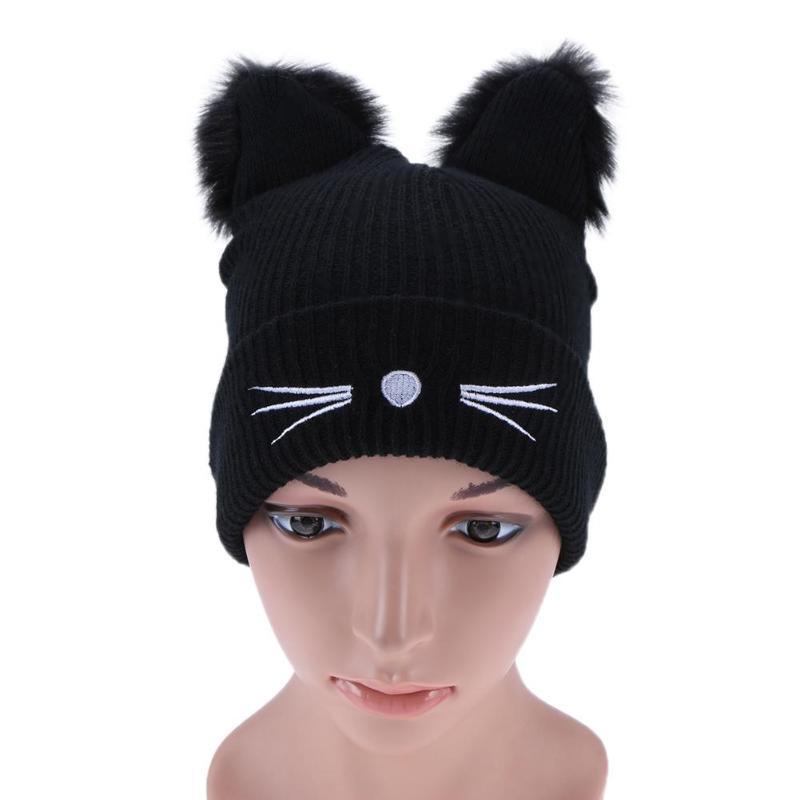 Las mujeres invierno lana tejer sombrero de orejas de Gato lindo ...