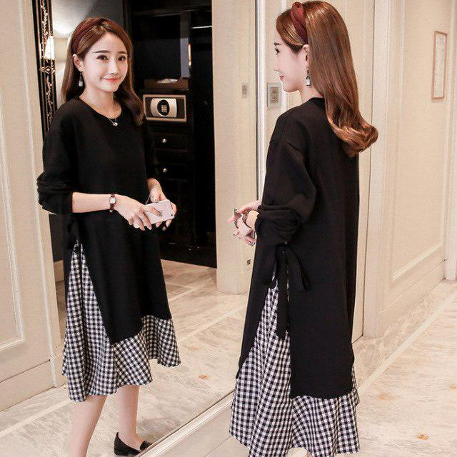 afc1f53cd2 spring autumn maternity dress loose stitching Korean plus size Maternity  pregnancy clothes elegant-buy at a low prices on Joom e-commerce platform