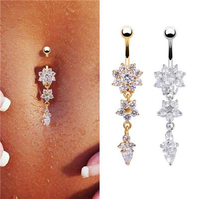 Sexy Women Flower Rhinestone Dangle Bar Barbell Belly Button Ring