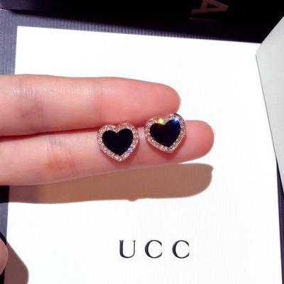 Elegant Rose Gold Color Black CZ Heart Stud Earrings Ear Studs Wedding Jewelry For Women