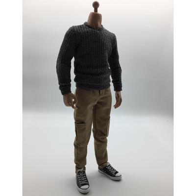 1//6 Échelle Homme Vêtements Noir Long T-shirt Jeans Toile Chaussures Set