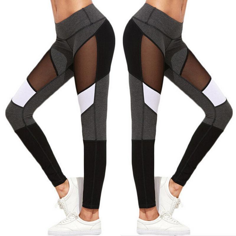 打底裤网纱瑜伽裤运动紧身裤四针六线健身裤