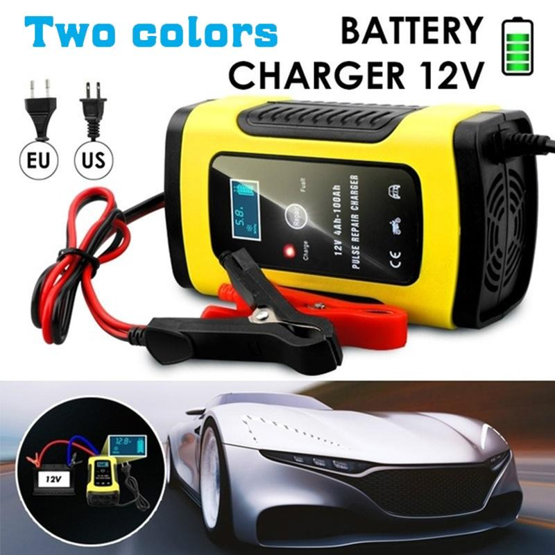 12V 5A Automatic Car Motorcycle Pulse Repair Wet Intelligent Battery Charger Digital LCD Display