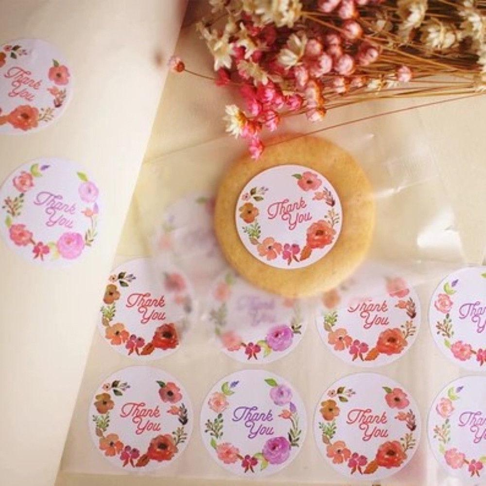 120pcs Kraft Paper Love Heart Rose Flower Thank You Sealing Label Gifts Sticker