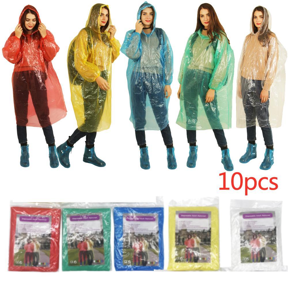 10PCS Disposable raincoat Adult Emergency Waterproof Rain Coat Poncho Outdoors H