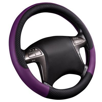 Universal Anti-slip Car Steering Wheel Cover Gray Wood Grain Leather for SUV VAN
