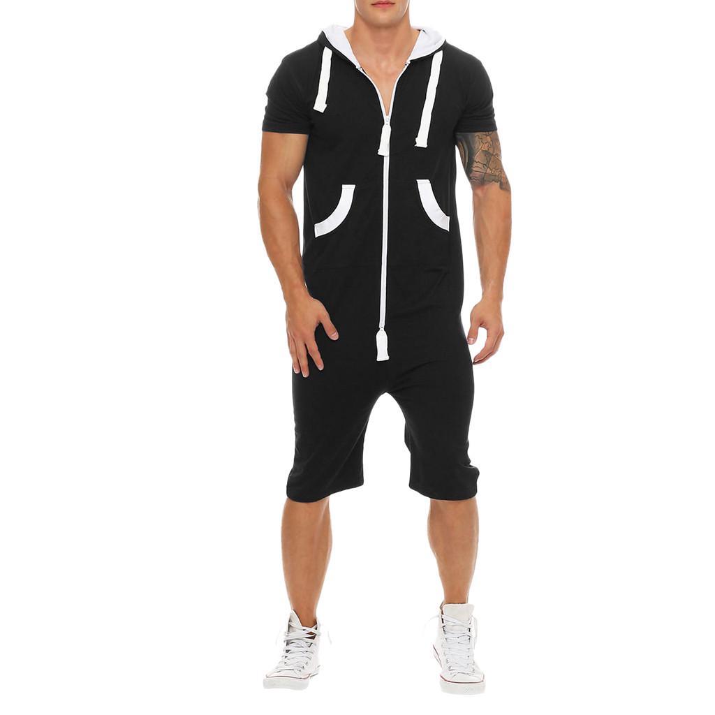 Men Unisex Jumpsuit One-piece Hoodie Garment Non Footed Pajama Playsuit Blouse