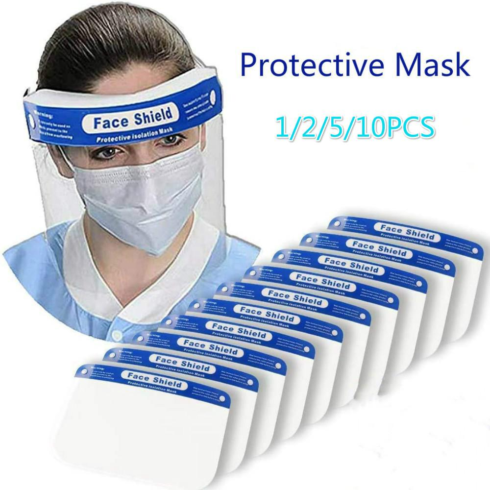 10pcs Safety Full Face Shield Reusable Washable Face Mas Clear Protection Cover