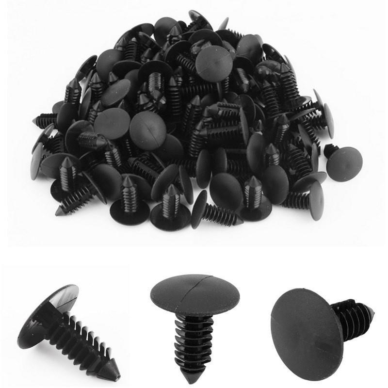 100pcs 20mm Head 8mm Hole Plastic Rivet Panel Bumper Fastener Black