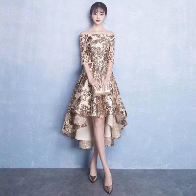 c34b81103d Letnia sukienka dla druhny Cekiny Moda Nieregularna sukienka na imprezę