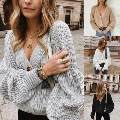 FREE Autumn Women Fashion Long Sleeve V Neck Button Knit