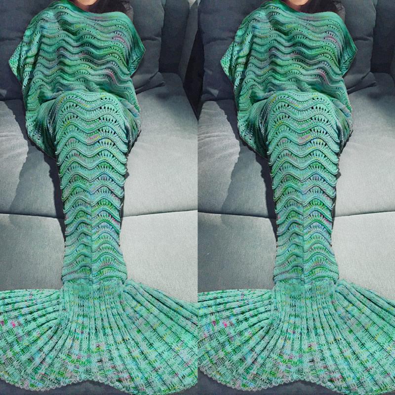 Cómoda sirena cola manta sofá caliente capullo saco de tejer ...