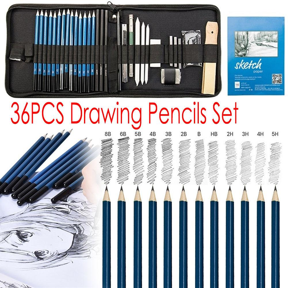 36pcs Professional Drawing Painting Sketch Pencil Kit Set Graphite Art Craft