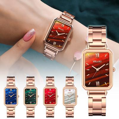 Vintagte Rectangle Dial Women Stainless Steel Quartz Analog Wrist Watch