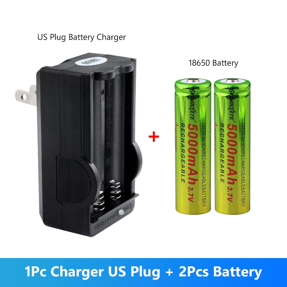 8 Pcs 3.7V 5000mAh Battery with 4 Slot 18650 Smart Battery Charger,Universal Rechargeable Battery Charger 4 Slot Fast Charging for Li-ion Batteries