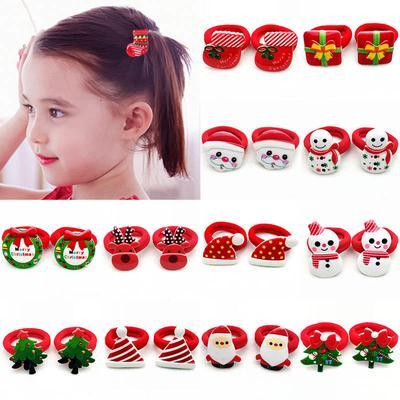Kids Girls Lovely Christmas Children Santa Claus Tree Elastic Rubber Bands Hair Rope