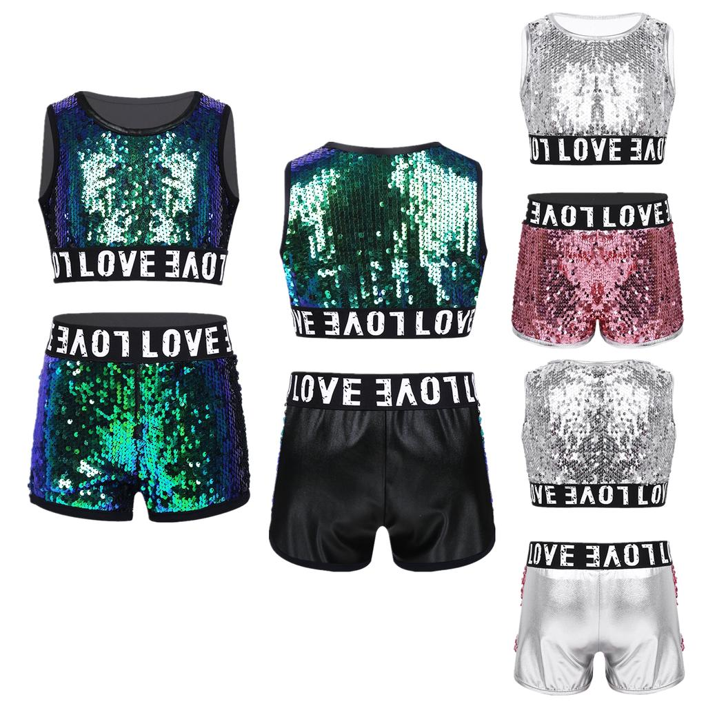 Girl Street Dance Clothes and Shorts Set Performance Sequins Costume For 4-13YRS