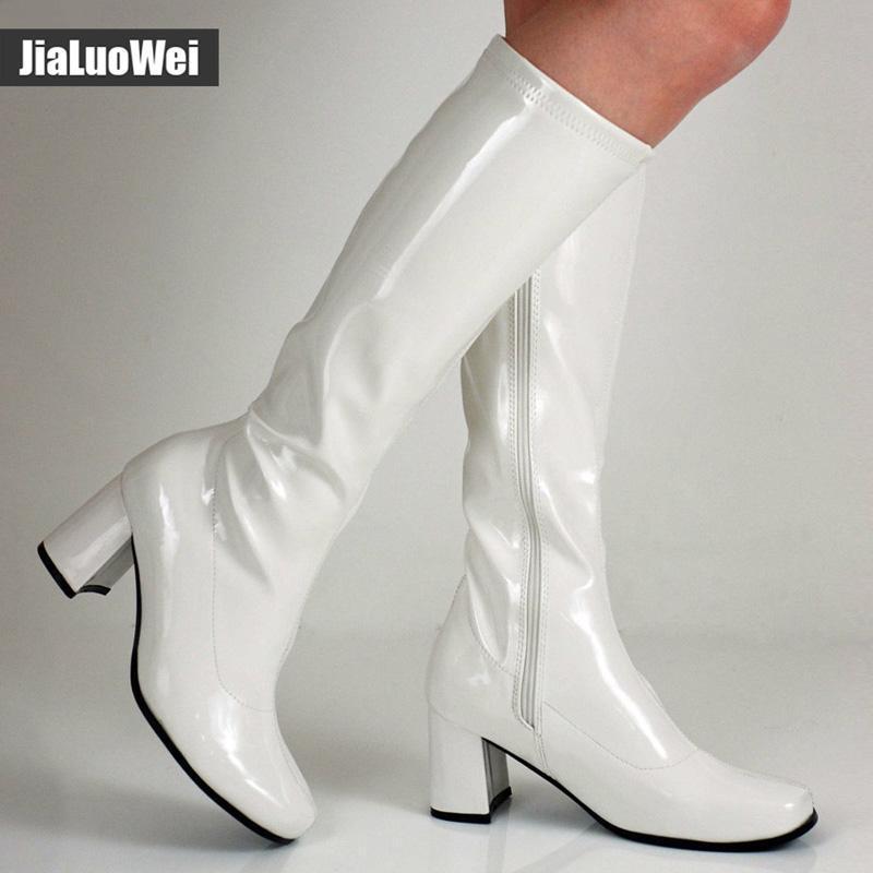 Женщина Gogo сапоги площади пятки колено-высокий классический квадратный нос сапоги PU Кожаные сапоги цип сапоги унисекс партия платье танцевальные туфли – купить по низким ценам в интернет-магазине Joom