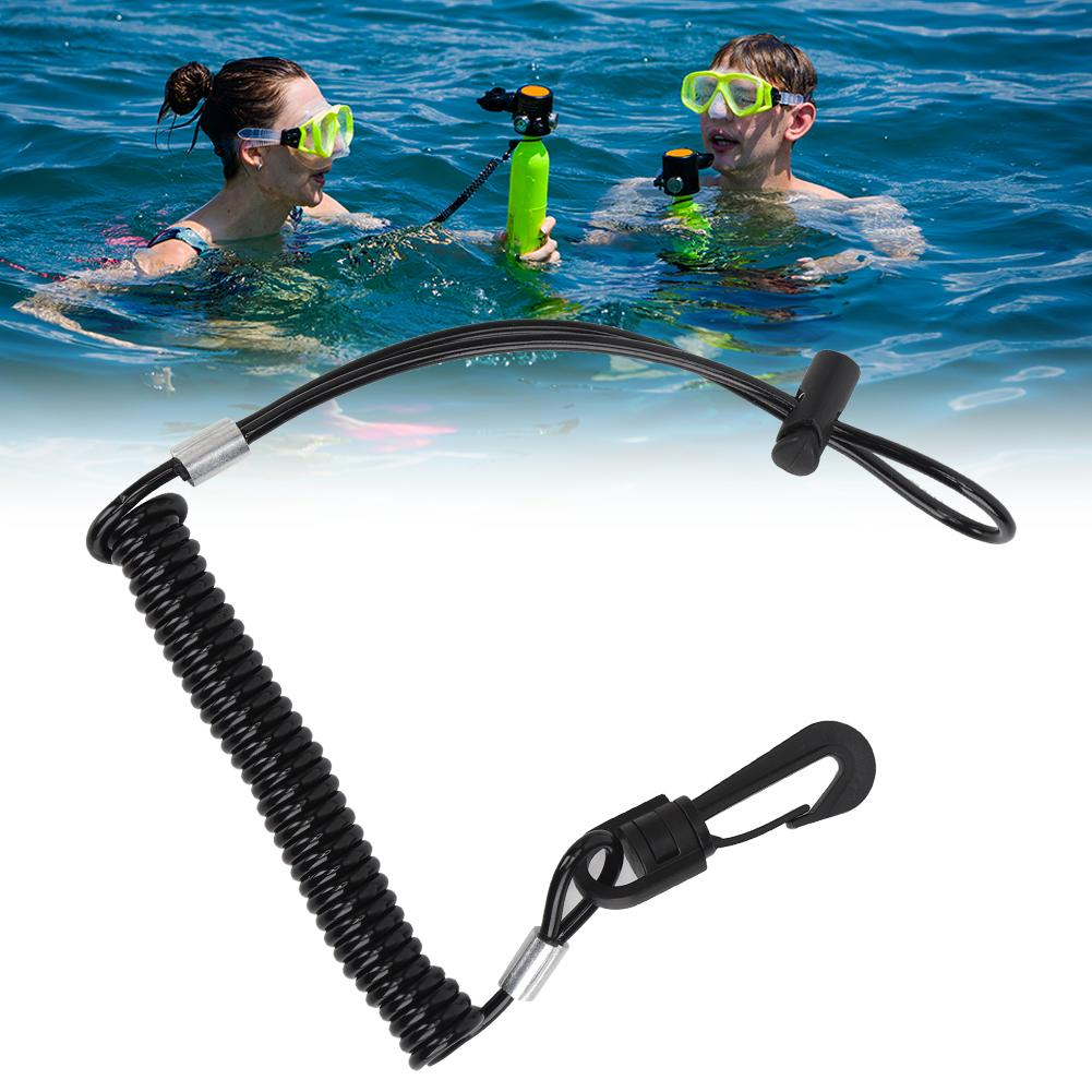 Diving Lanyard Oxygen Bottle Coil Anti-lost Safety Spring Rope for Snorkeling