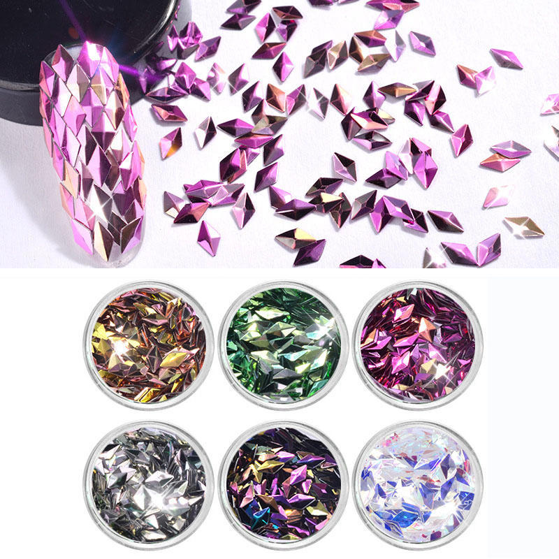 6pcs uñas lentejuelas diamante colorido brillo chispa Flakies ...