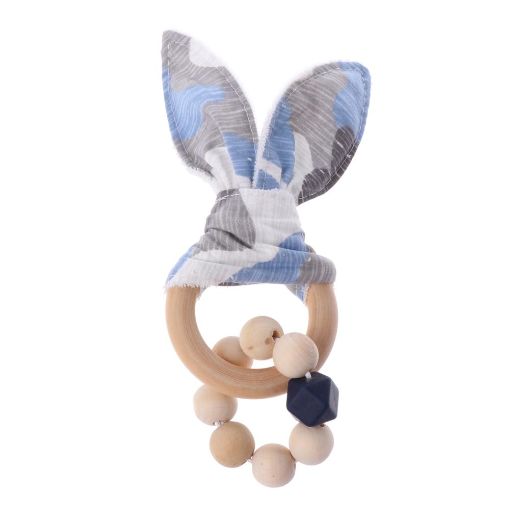 Christmas Baby Boy Bunny Ear Teether Safe Organic Wood Teething Ring Shower Gift