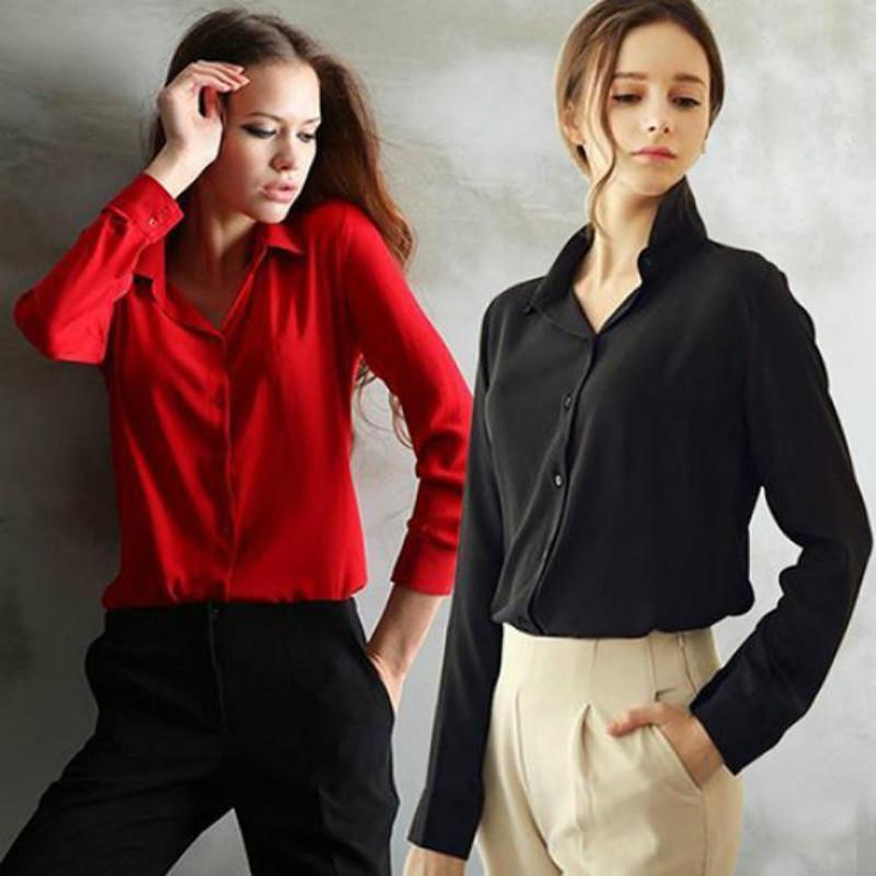 2015秋季长袖雪纺衫 欧美女式长袖衬衫大码纯色速卖通ebay爆款