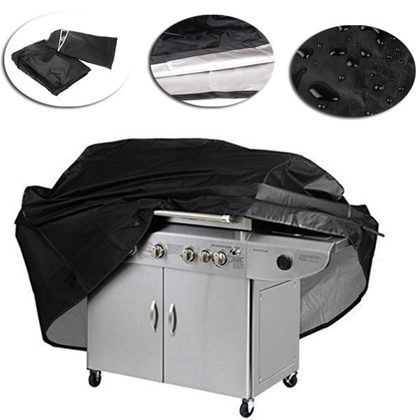 Black BBQ Cover Barbecue Grill Gas Covers Outdoor Indoor Protection 145x61x117cm