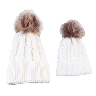 Kind-Hearted 2 Pcs Mother Kids Child Baby Warm Winter Knit Beanie Fur Pom Hat Crochet Ski Cap Cute 5 Colors Girl's Accessories Apparel Accessories