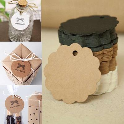 100 Pieces Kraft Paper Labels Different Forms of Paper Labels with Rope Tags Kraft Paper DIY Decoration