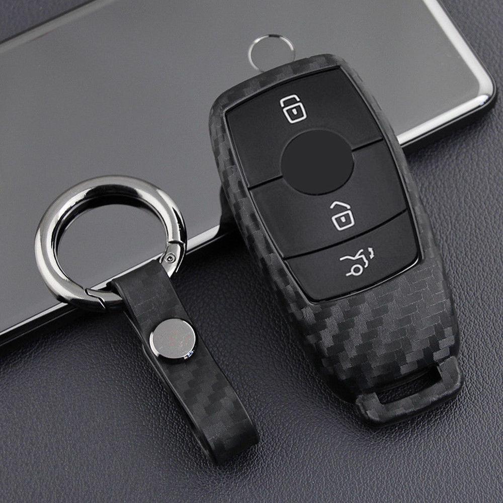 Carbon Fiber Shell Remote Key FOB Case for 2017 Mercedes E300 W213 E400 E-Class