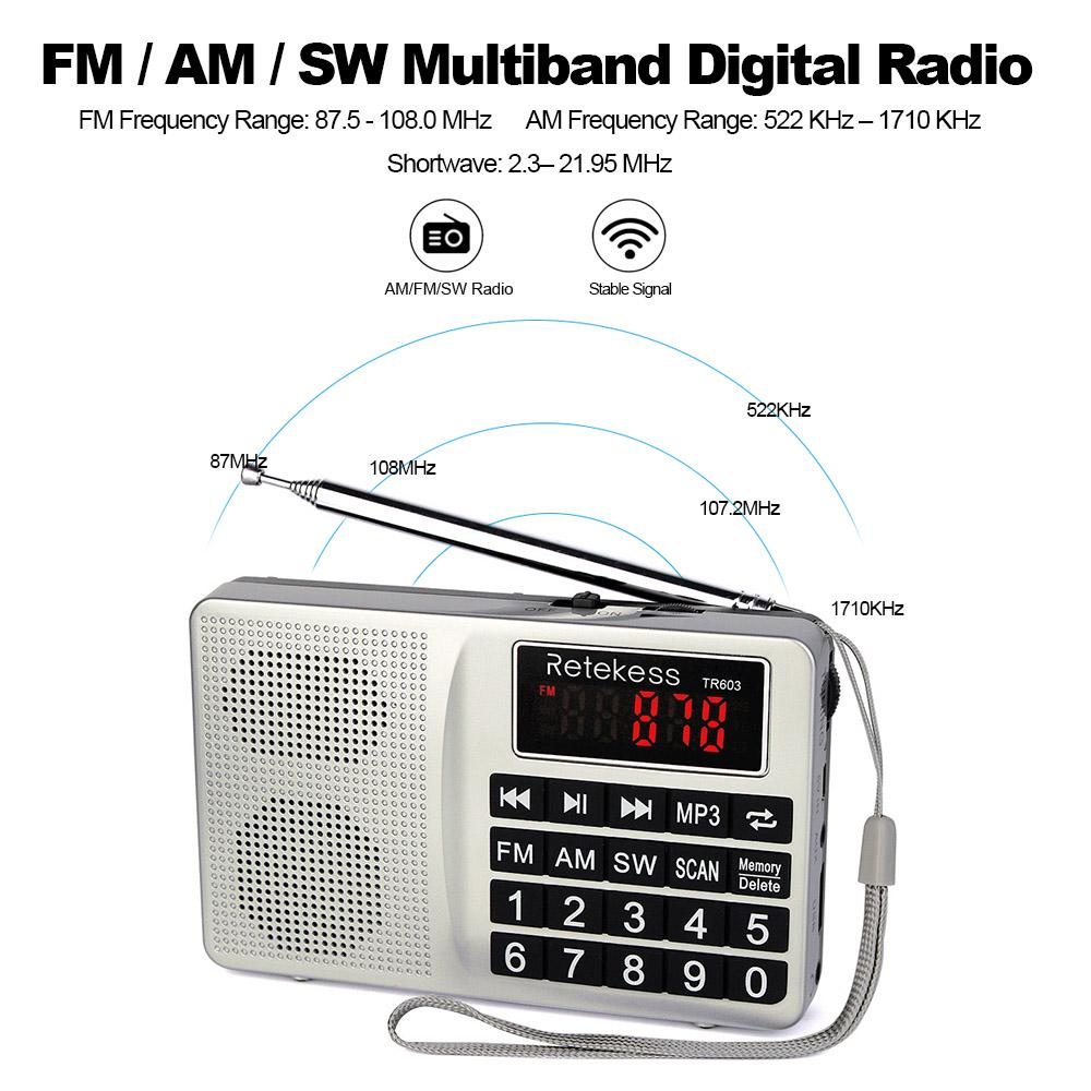 Shortwave FM//AM//SW radio Stereo Receiver mp3 player Recorder