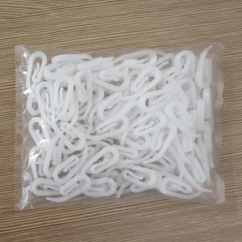 100Pcs CURTAIN HOOKS FOR CURTAINS WITH HEADER TAPE WHITE PLASTIC NYLON HOOK NEW
